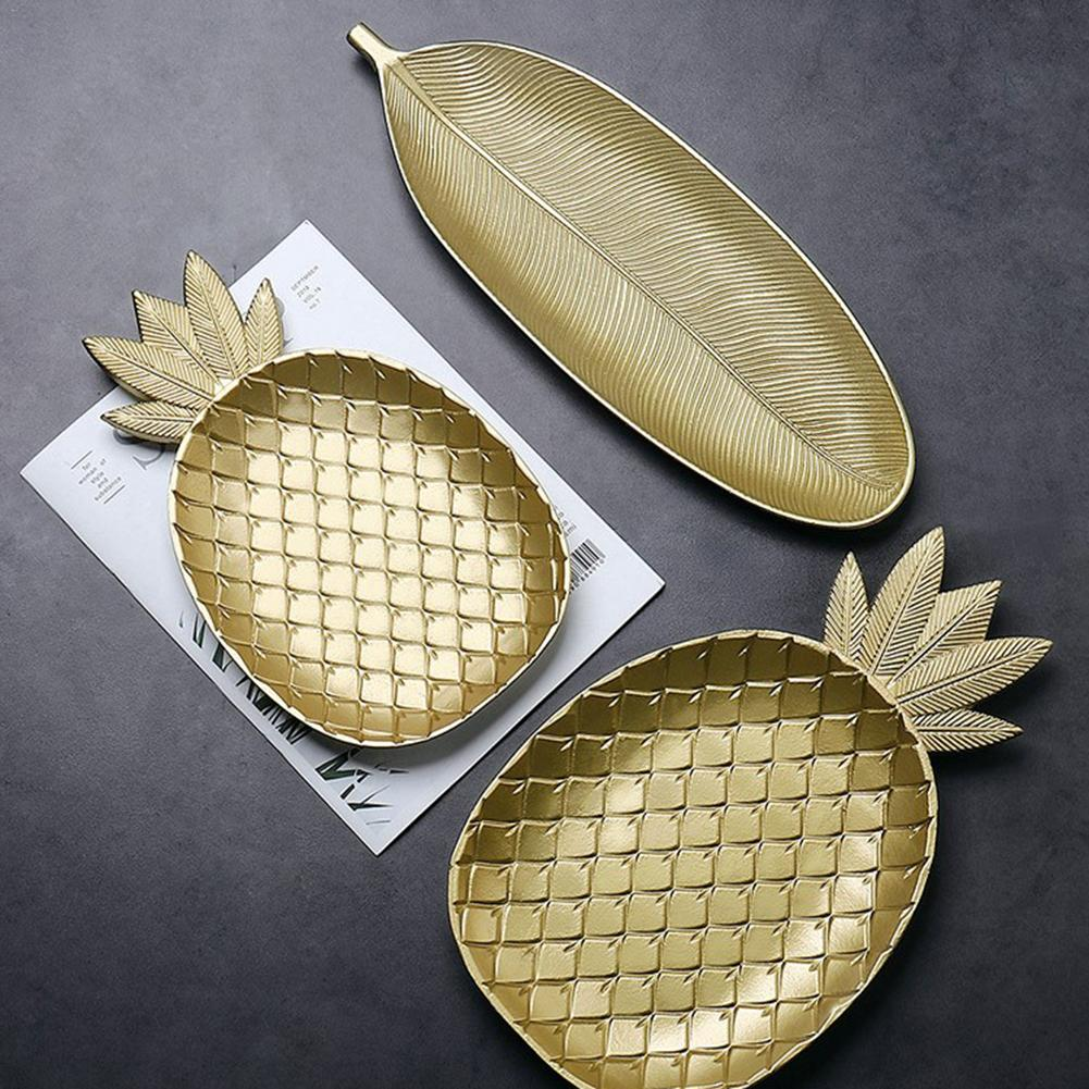 Simple Nordic Style Wooden Golden Tray Pineapple Leaf Shape Snack Fruit Bowl Wooden Storage Tray