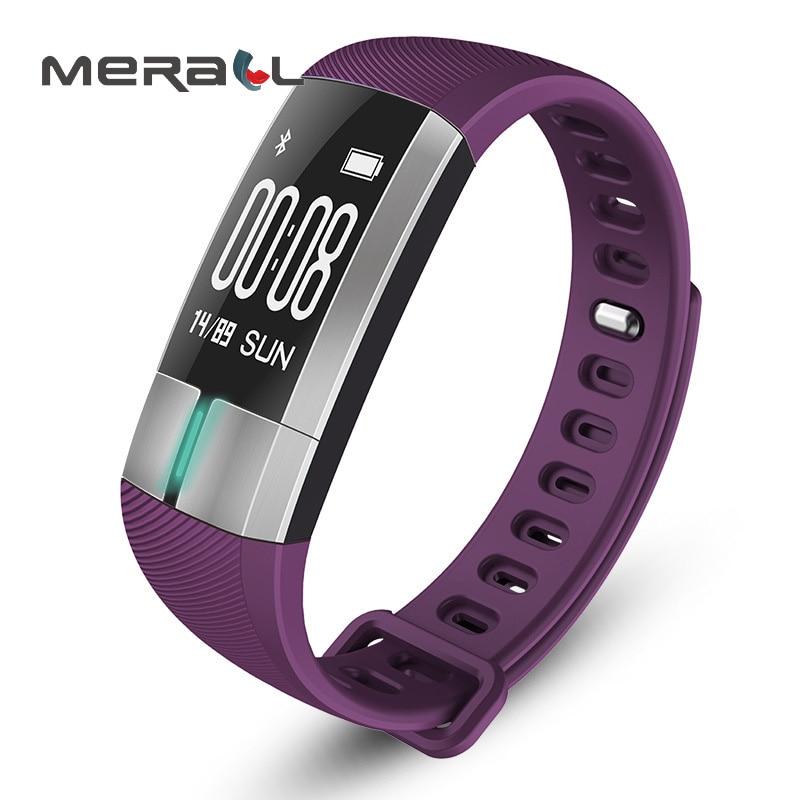 Étanche bande intelligente fréquence cardiaque moniteur de pression artérielle Bracelet de sport montre de soins de santé oxymètre Android numérique noir dispositif