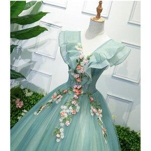 Image 2 - Parti sanat performans sahne Solo kostüm koro elbise işlemeli Dames Couture asil zarif elbisesi doğum günü