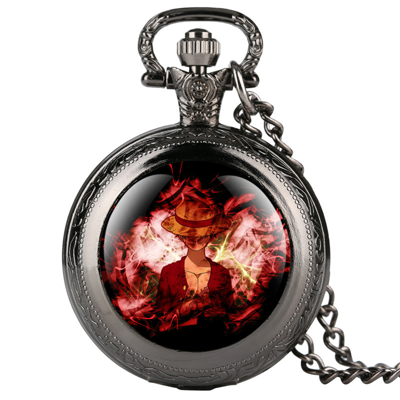 Hearthstone Fine Chain Quartz Pocket Watch For Kids Students Luffy Character Pattern Arabic Digital Gift For Pocket Watch