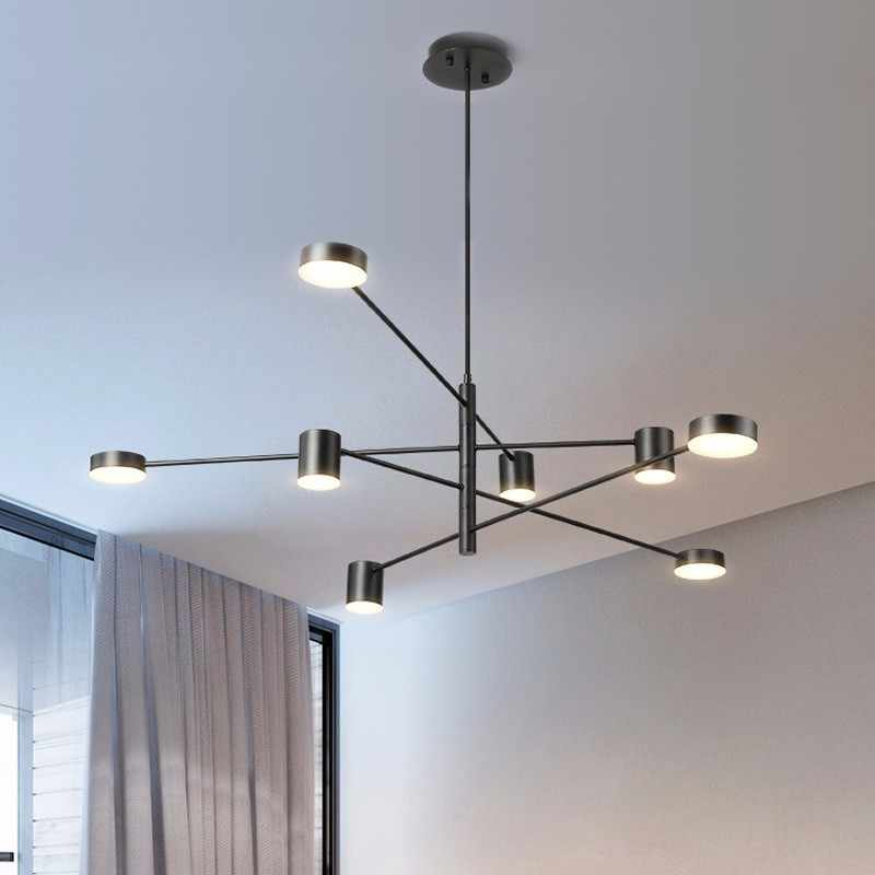 Modern LED Chandelier Fixture For Hours Lighting Living Dining Room Suspension Light Black Golden Restaurant Hanging Lamp Lustre