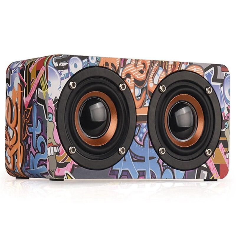 M5 Graffiti Wooden Wireless Bluetooth Speaker Mobile Computer Desktop Home Audio Street Dance Fashion Trend 5V