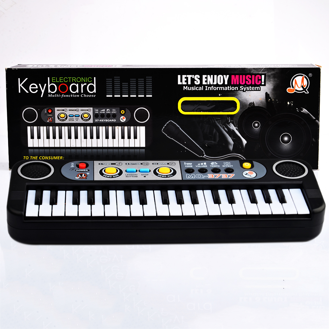 2018 Popular 37 Key Small Electronic Keyboard Piano Musical Toy Mic Records For Children Christmas Gifts- Black