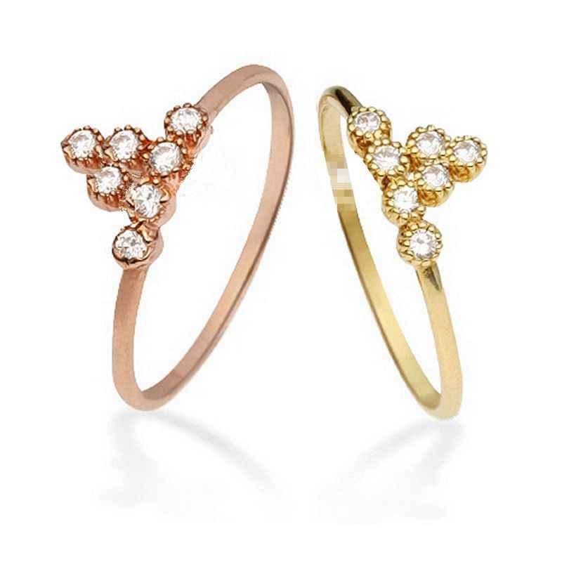 Solide 14 k Rose Gold Solide 14 k Gelb Gold Natürliche Diamanten Ring, Verlobung, Hochzeit Band Frauen Edlen Schmuck Trendy r14K Y14K