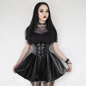 SUCHCUTE Women's Skirts Gothic Harajuku Bandage Faux Leather Korean Fashion Black Mini Pleated Skirts 2019 Summer Party Pu Saias 3