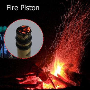 Brass Metal Fire Piston with Char Cloth-Campers / Survival / Preppers Outdoor Emergency Fire Tube Camping Survival Outdoor Tools 2