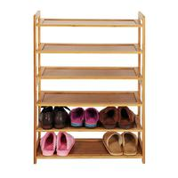 AUGKUN 6 layer Flat Shoes Rack Concise Rectangle 6 Tiers Bamboo Shoe Rack Shelves Wood Color High Quality Shoes Rack Organizer