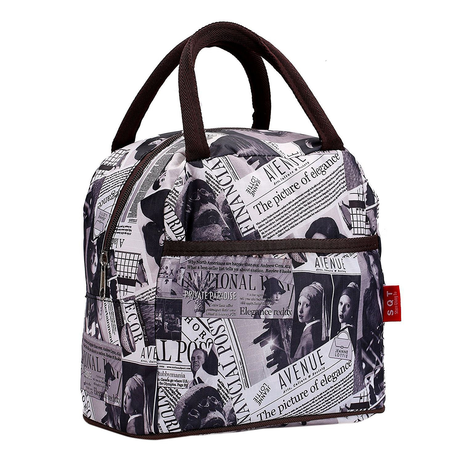 Black White Brown Style Polyester Lunch Bag Lunch Box Package Shop Tote Bag Purse For Women Girls