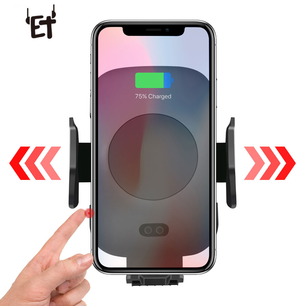 ET Car Wireless Charger Infrared Sensor For Apple iPhone XS Max XR X 8 Plus Samsung Galaxy Note 9 S9 S8 Fast QI Car Charger