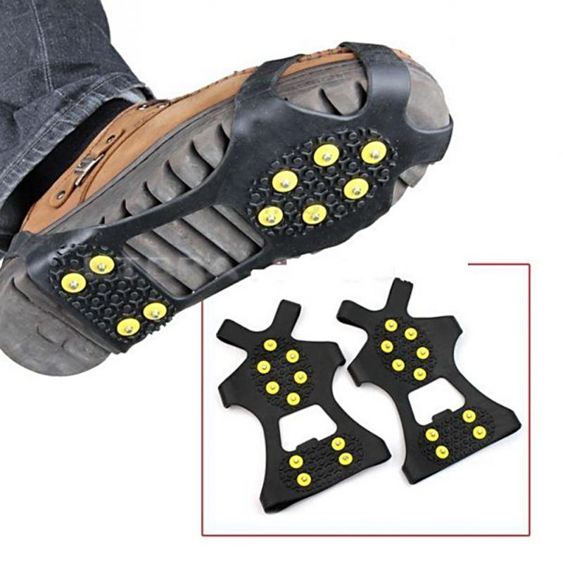 Shoe Crampons Studs Cleats Spikes-Grips Anti-Skid Snow Climbing Ice 1-Pair S-M L-10
