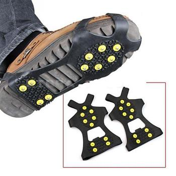 1 Pair S M L 10 Studs Anti-Skid Snow Ice Climbing Shoe Spikes Grips Crampons Cleats Overshoes crampons spike shoes crampon