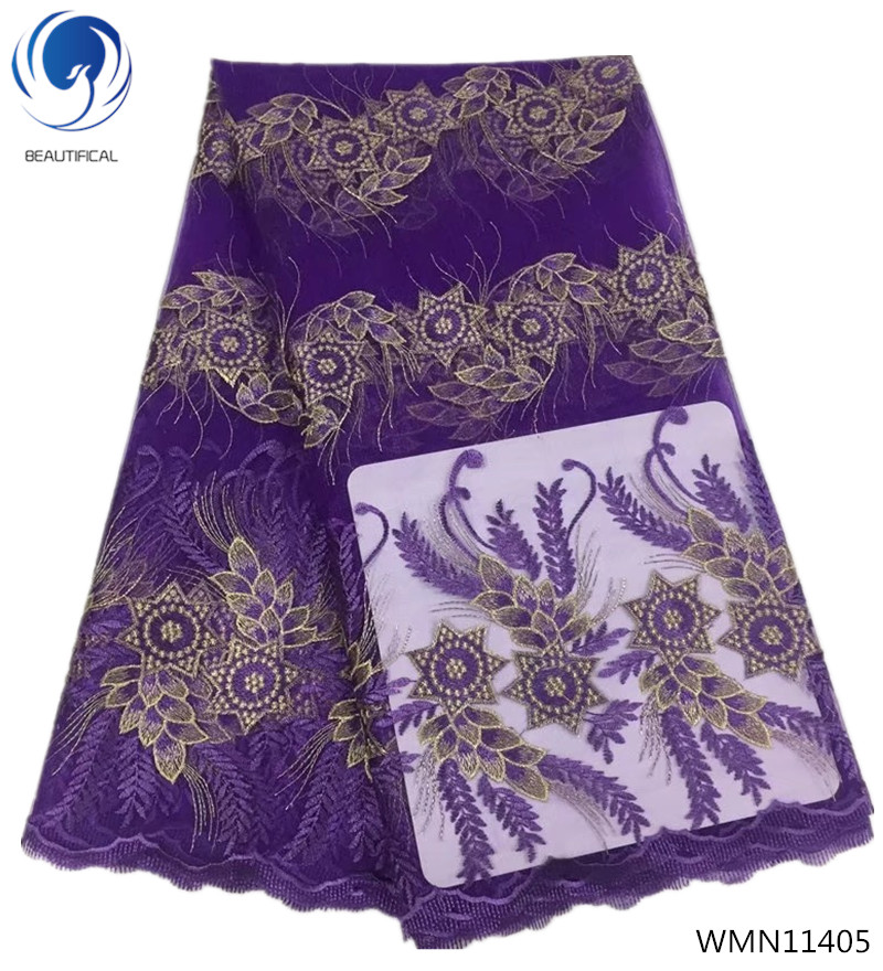BEAUTIFICAL african lace fabric purple embroidery lace fabric nigerian lace fabric 2018 high quality lace 5yards/piece WMN114