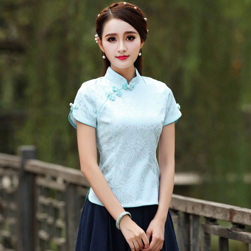 Sheng Coco Chinese Clothes Tops Traditional Style Cheongsam Tops Qipao Summer Short Jacquard Cotton Tang Costume Vetement Shirt