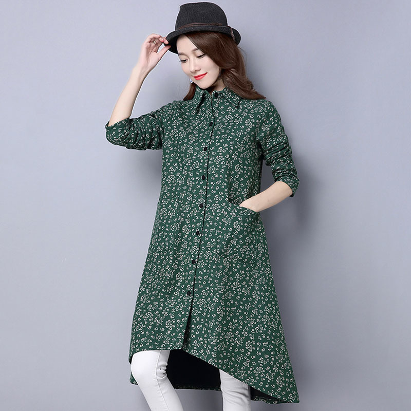 BUYKUD Vintage Shirt-Coats 2018 Autumn Winter New Long Sleeve Printed Coat Office Lady Irregular hem Women Button Linen Coats 2