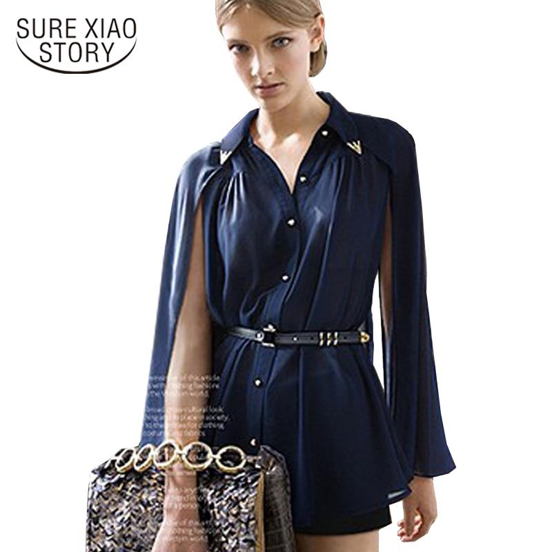 134b55b8972e0 2018 الأزياء Blusa النساء قمصان شال الرأس-نمط الأزرق بلوزة شيفون قميص الشمس  حماية ملابس حريمي Blusas Femininas 980C 20