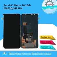 """6.0 """"oryginalna M & Sen dla Meizu 16 16th M882Q super amoled lcd wyświetlacz + ekran digitizer panel dotykowy dla Meizu 16 M882H montaż"""