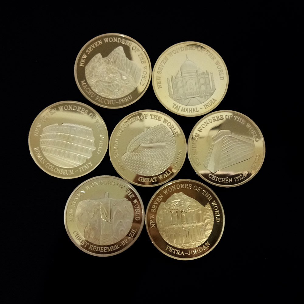 New World Seven Miracle Gold-plated Anniversary Badge China The Great Wall Commemorative Coin Tourism Collection Currency