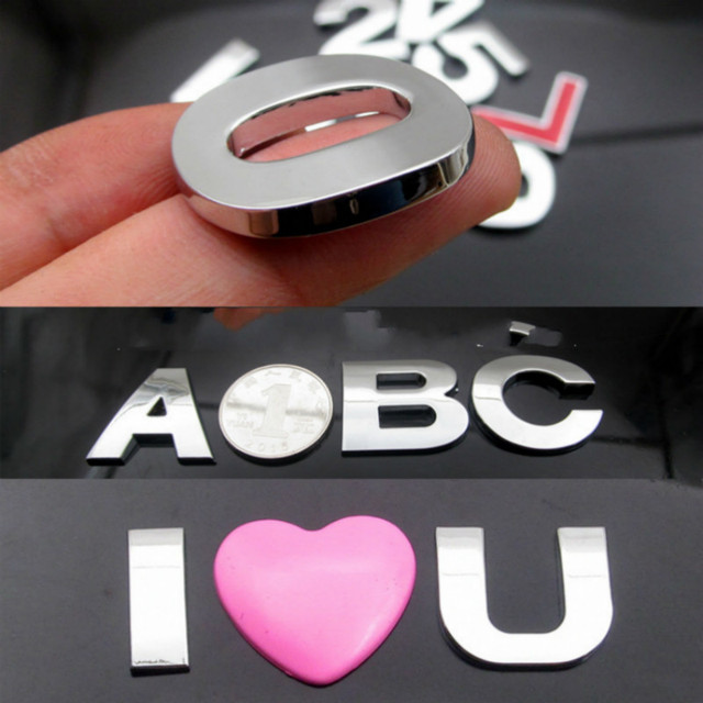 WL New 45 And 25mm 3D DIY Letters Alphabet Emblem Chrome And Black Car Sticker Digital Badge Logo  Accessories Motorcycle 1