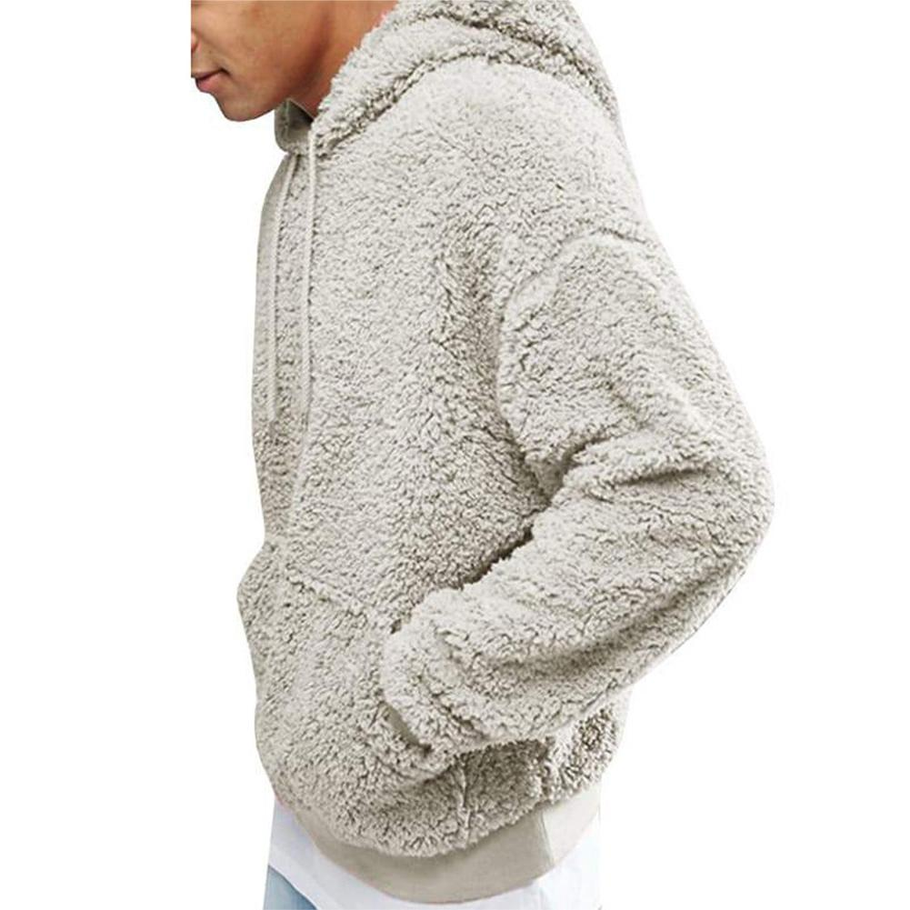 Men Plush Solid Color Autumn Casual Hooded Sweatshirt Top Long Sleeve Hoodies
