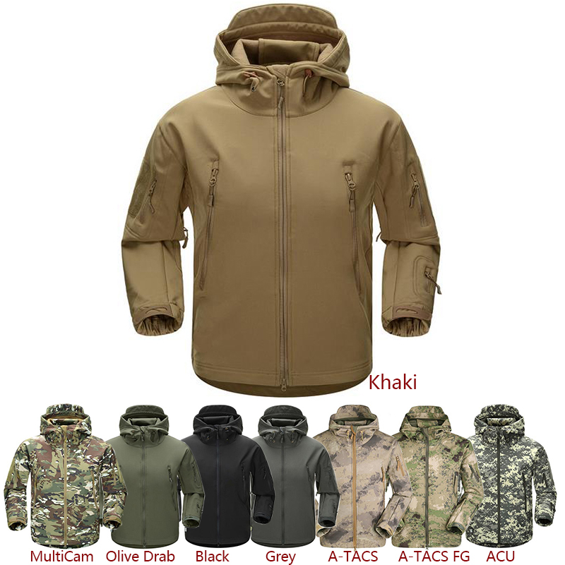 Men Outdoor Jacket Water resistant Luker TAD Coat Shark Skin Soft Shell Hoodie Hunting Duty Camping Hiking Clothing