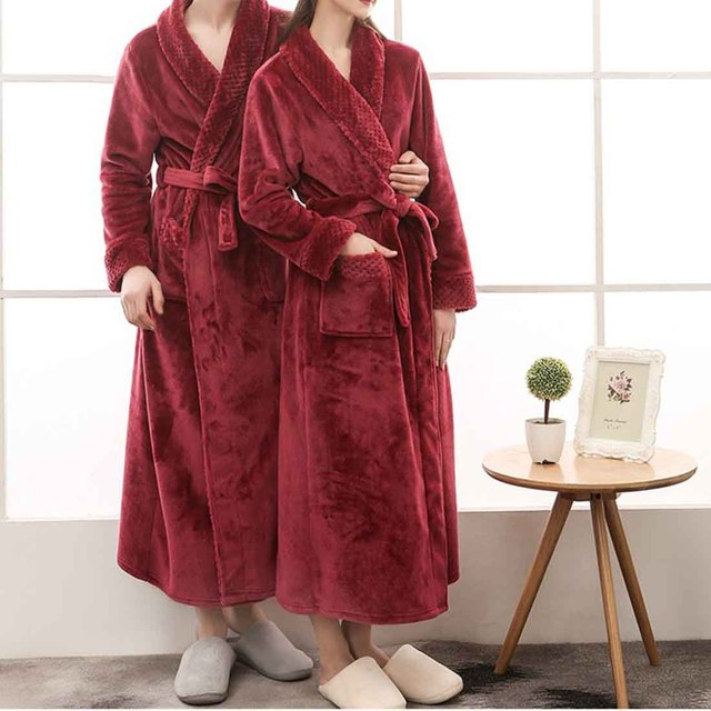 f236df2f7a Winter Fashion Coral Fleece Men S Robe Kimono Bathrobe Nightgown Thick Warm  Long Sleeve Belted Sleepwear Bath Night Gown Couple
