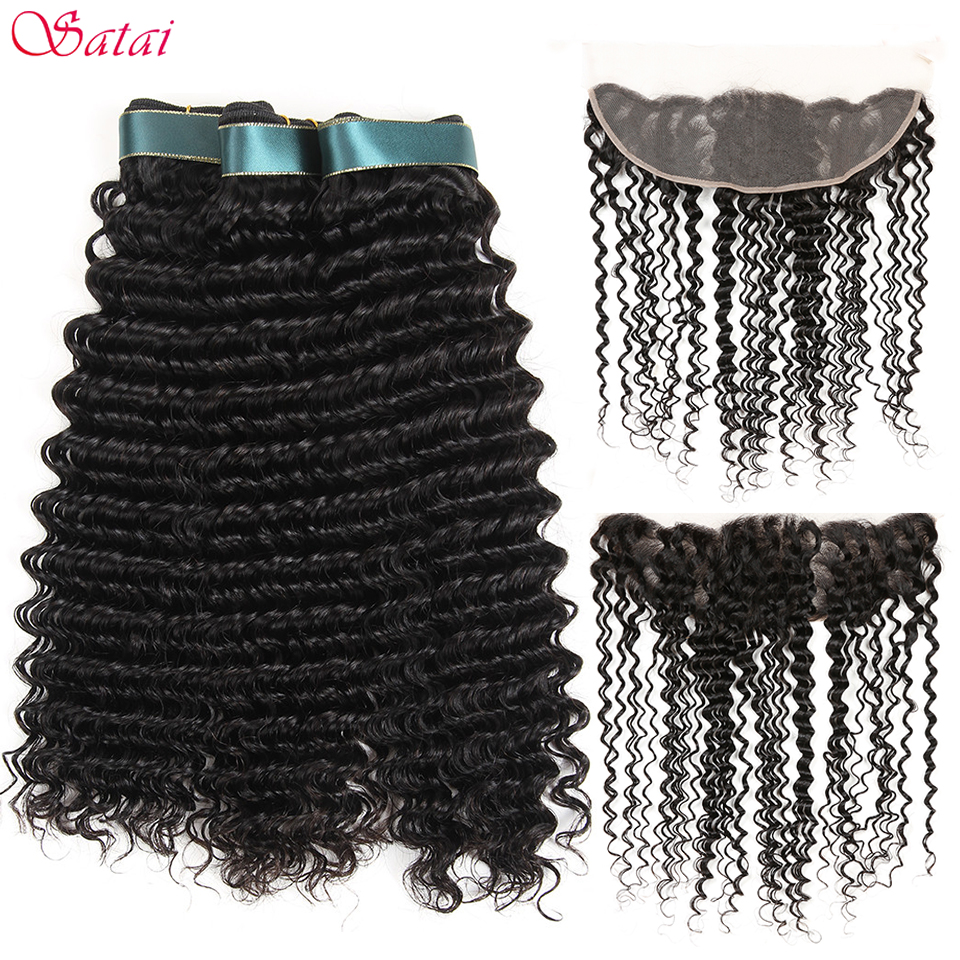 Satai Deep Wave 3 Bundles With Frontal Peruvian Hair Bundles 100 Human Hair Bundles With Closure