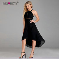 Black Cocktail Dresses Ever Pretty EZ07667 Women's Sexy Halter See through High Low Sleeveless Chiffon A line Robe De Cocktai