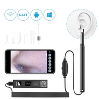 5.5 mm Wireless Otoscope WiFi Endoscope Camera HD 720P Lens Visual Ear Cleaning Earpick with 6 Adjustable LED Lights