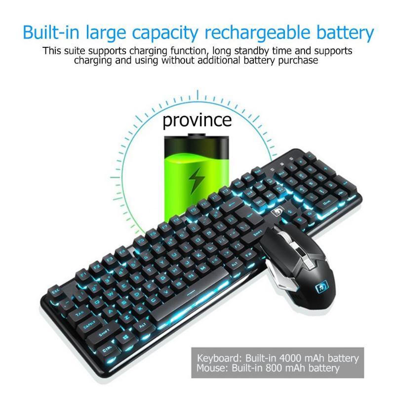 Clavier de jeu ergonomique rechargeable souris Combos sans fil rétro-éclairé 2.4G 104 touches clavier mécanique souris Gamer clavier ensembles