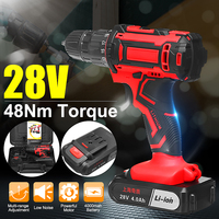 28V 3/8'' Electric Cordless Drill Driver Rechargeable Screwdriver Electric Drill Power Tools with 2 Lithium Battery