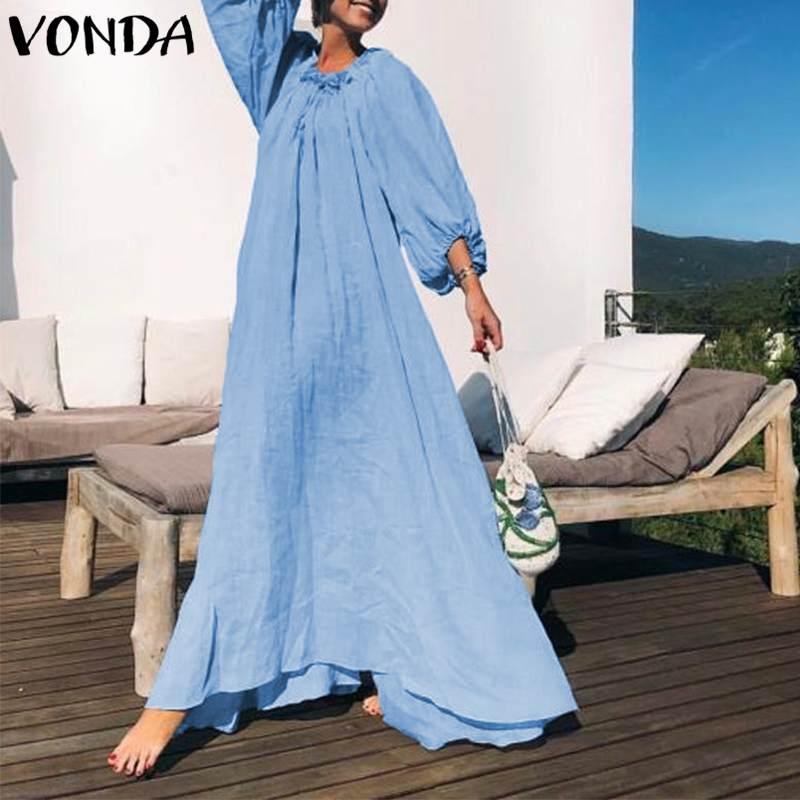 VONDA для женщин макси длинное платье большие качели платья для вечеринок осень 2019 г. женский Винтажное с рукавами-фонариками повседневное св...