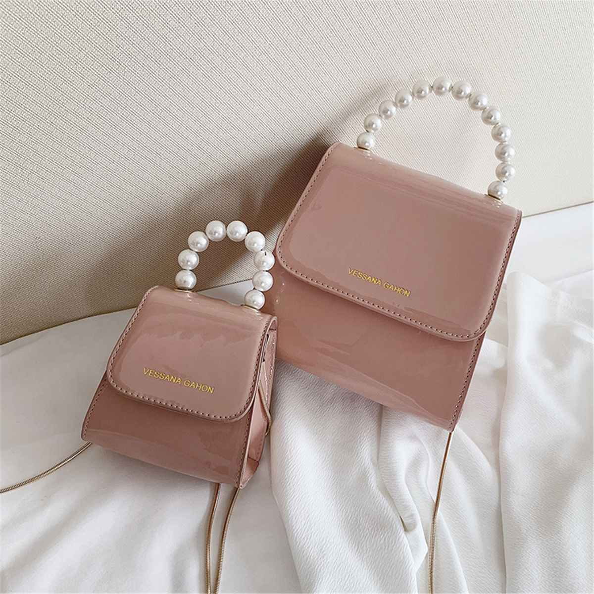 Girls Evening Crossbody Bags Mini Cute Tote Fashion Pearl Handle Chain Bag Women Shoulder Bag PU Leather Handbag Feminine Bolsa