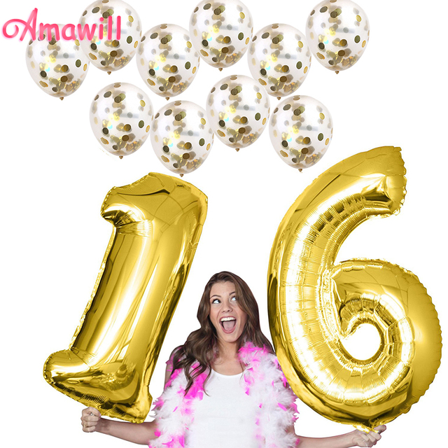 Amawill Birthday Party Decorations Adult With 40inch Number 16 Helium Balloons 10pcs Gold Confetti Balloon For 16th 7D