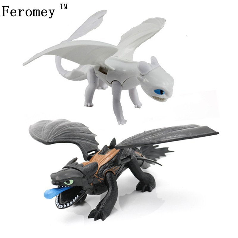 New How To Train Your Dragon 3 Black/white Toothless Dragon Night Fury Light Fury Action Figure Model Toys For Boy Birthday Gift
