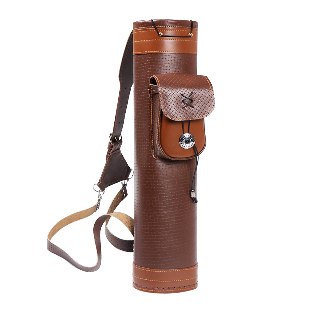 Cow Leather Archery Quiver Arrow Shooting Hunting Bag Back Shoulder Storage Bag Carrier Shoulder Tube Arrows Holder-in Bow & Arrow from Sports & Entertainment