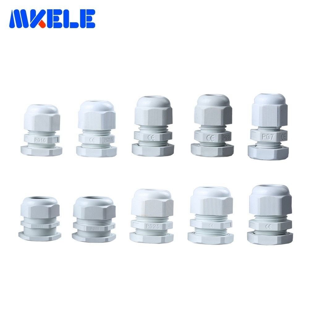 10pcs PG7 Cable Gland PG16 PG9 PG11 White Plastic Nylon Waterproof Glands Joints IP68 Connector PG13.5 PG21 PG48