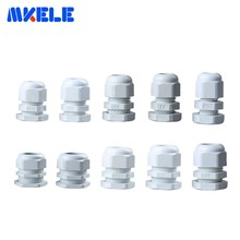 10pcs PG7 Cable Gland PG16 PG9 PG11 White Plastic Nylon Waterproof Cable Glands Joints IP68 Cable Connector PG13.5 PG21 PG48 стоимость