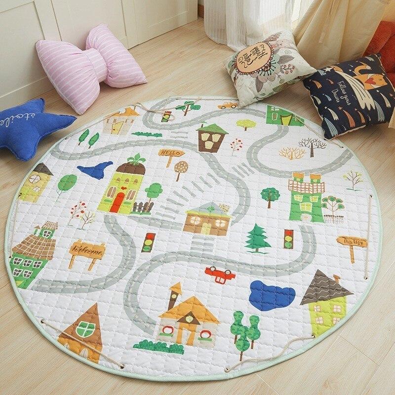 150cm Play Mats Round For Baby Kids Cartoon Fox Car Kwaii Rabbit Giraffe Style Children Game Blanket Carpet Toy Storage Bag