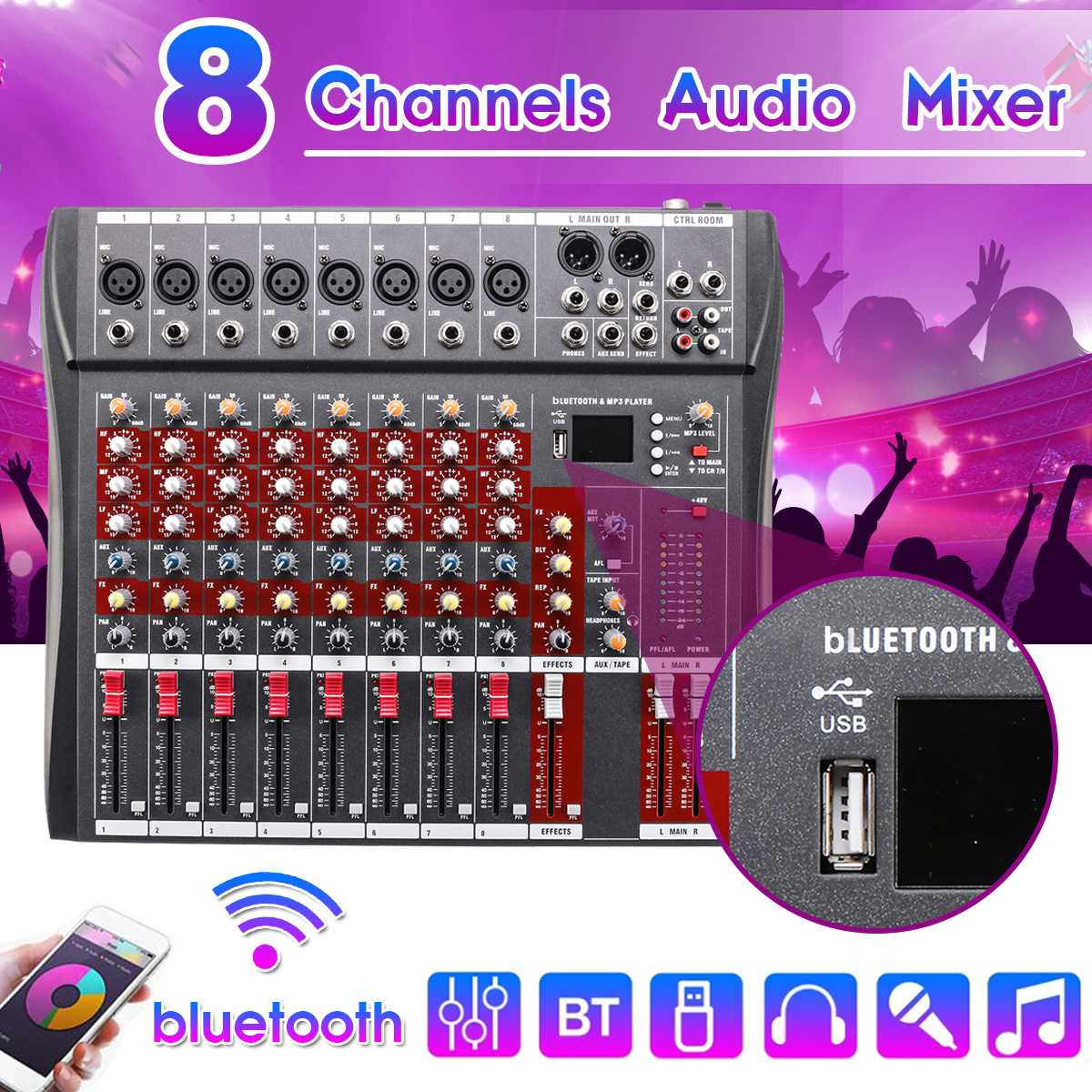 Professional 8 Channel DJ Sound Mixer with bluetooth Record Live Studio Audio Mixer Console 48V Phantom Power USB Jack