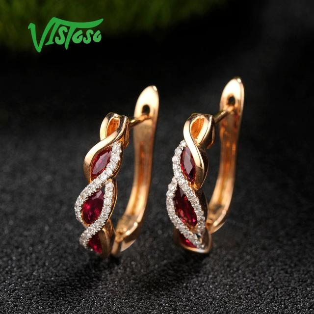 VISTOSO Gold Earrings For Women Authentic 14K 585 Rose Gold Shiny Red Ruby Sparkling Diamond Wedding.jpg 640x640 - VISTOSO Gold Earrings For Women Authentic 14K 585 Rose Gold Shiny Red Ruby Sparkling Diamond Wedding Engagement Fine Jewelry