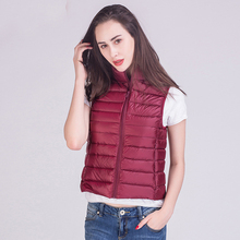 цена на 2018 Winter New 90% White Duck Down Vest Stand Collar Warm Slim Zipper Women Fashion Down Jacket 12 Colors S-3XL