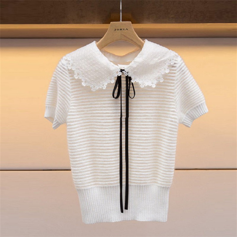 2019 Summer Sweet Lace Neck Women Striped Blouse Shirt Runway Short Sleeve Tunic Female Knitted Tops Clothes