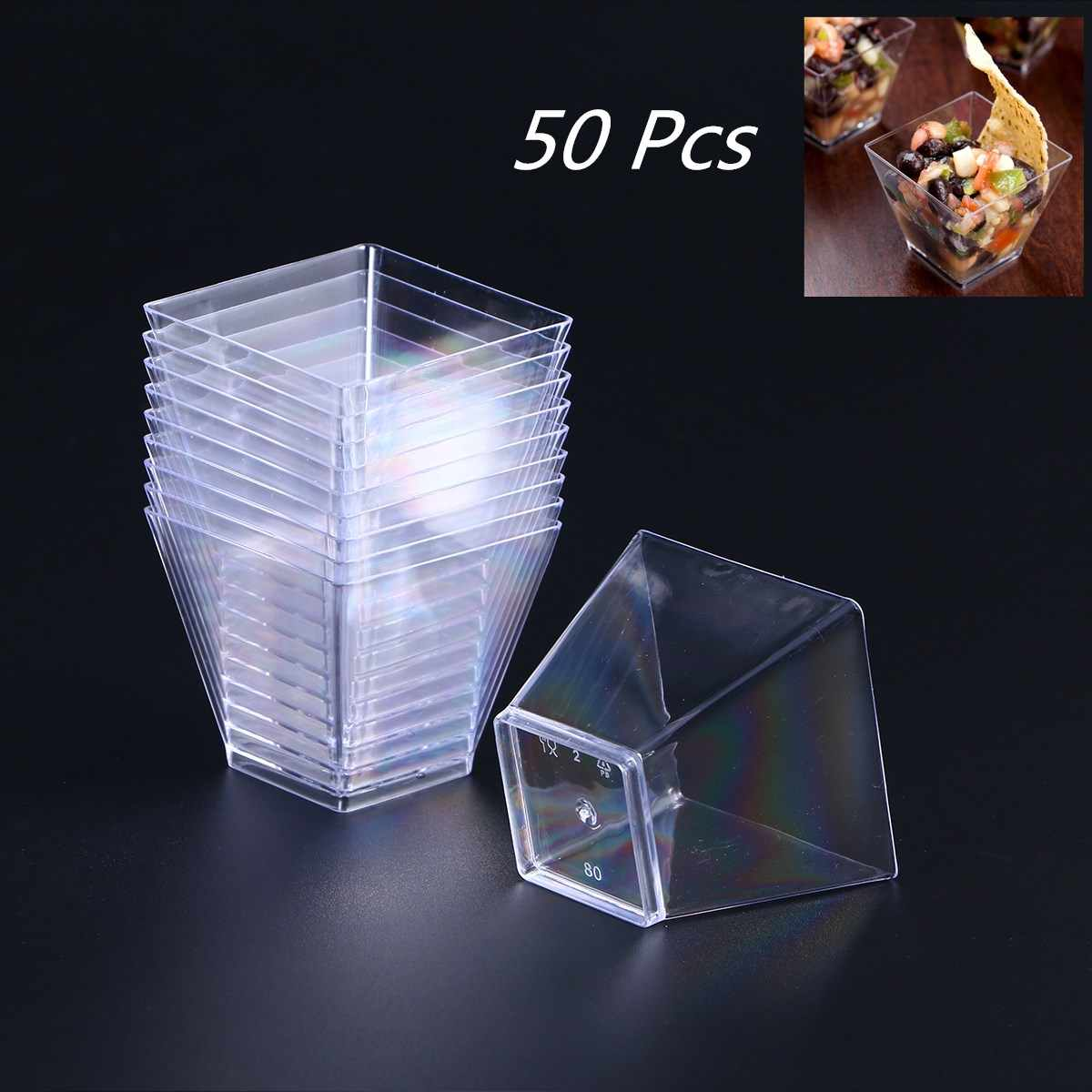 50PCS 60ml Disposable Plastic Portion Cups Clear Portion Transparent Trapezoidal Container for Jelly Yogurt Mousses Dessert