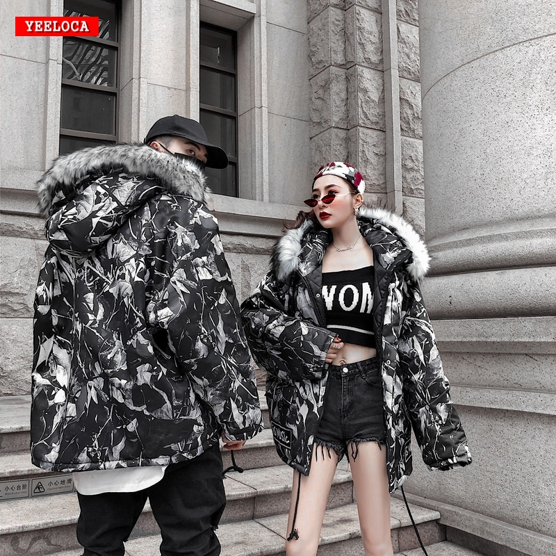 2018 branches camouflage military tactical hooded cotton men and women couples wild Harajuku plus cotton winter