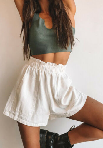 Fashion Women Ladies Solid Loose Summer High Waist Linen Holiday Beach Casual   Shorts   With Pocket