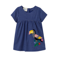 2019 Baby dresses girls clothing Gifts Blue dot print dress toddler summer girls dresses for party and wedding costume kids