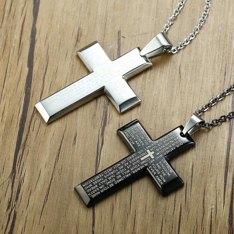 Mens Bible Cross Pendant Necklace Stainless Steel In Black Silver Regilous Christian Male Choker Jewelry