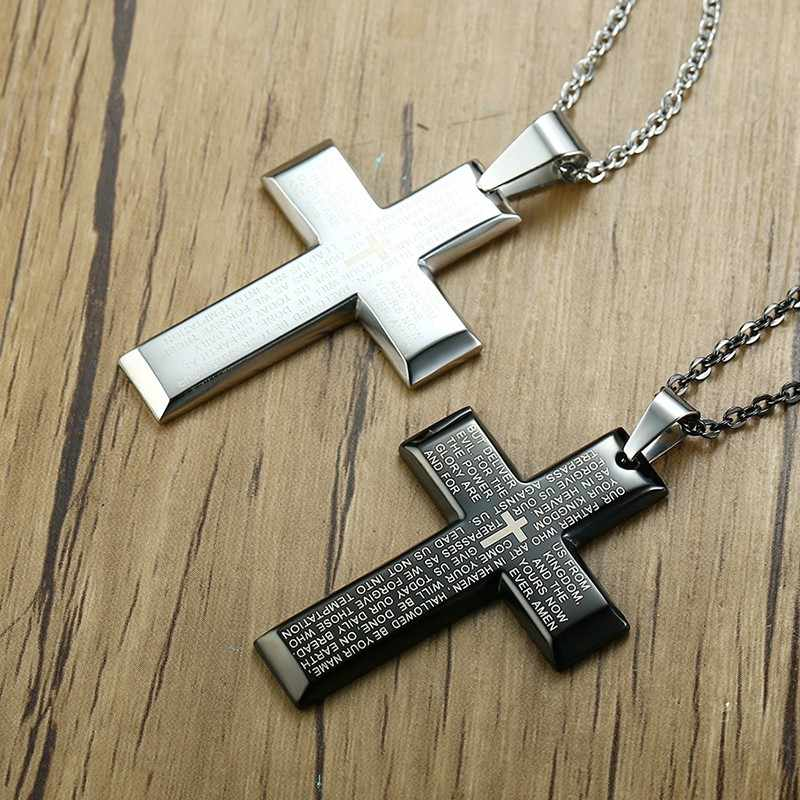 Mens Bible Cross Pendant Necklace Stainless Steel In Black Silver Regilous Christian Male Choker Jewelry