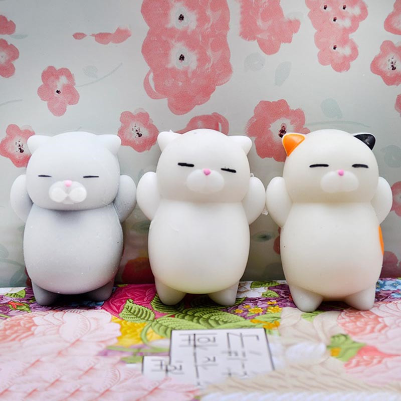 3Pcs Mochi Squishy Cute Mini Pregnant Lazy Cats Slow Rising Toy Soft Hand Pinch Squeeze Stress Relief Kid Doll Gift