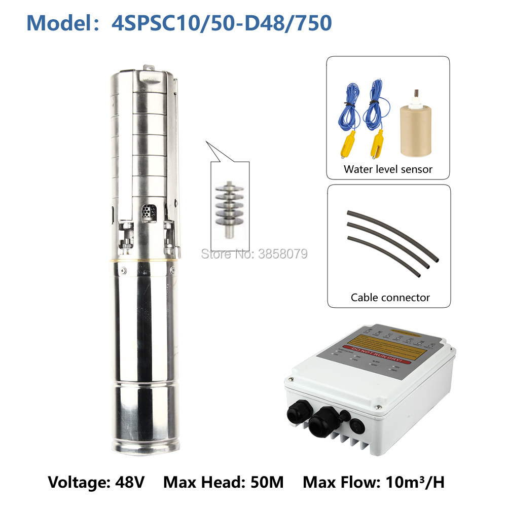 dc pump 48v bomba de agua deep well submersible pump 1.5 inches electric centrifugal solar submersible pump 4SPSC10/50 D48/750